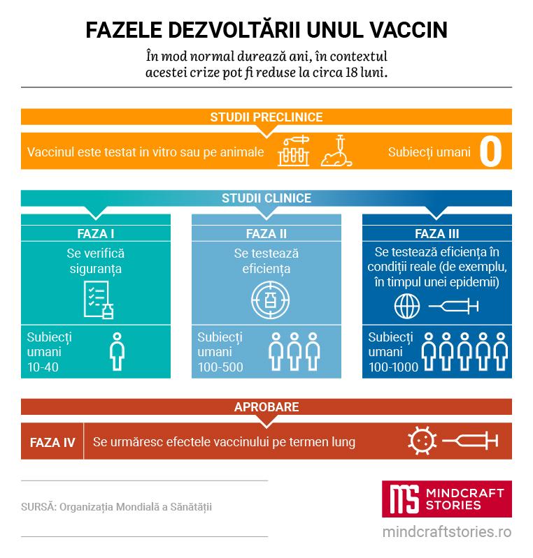 Infografic despre fazele dezvoltării unui vaccin.