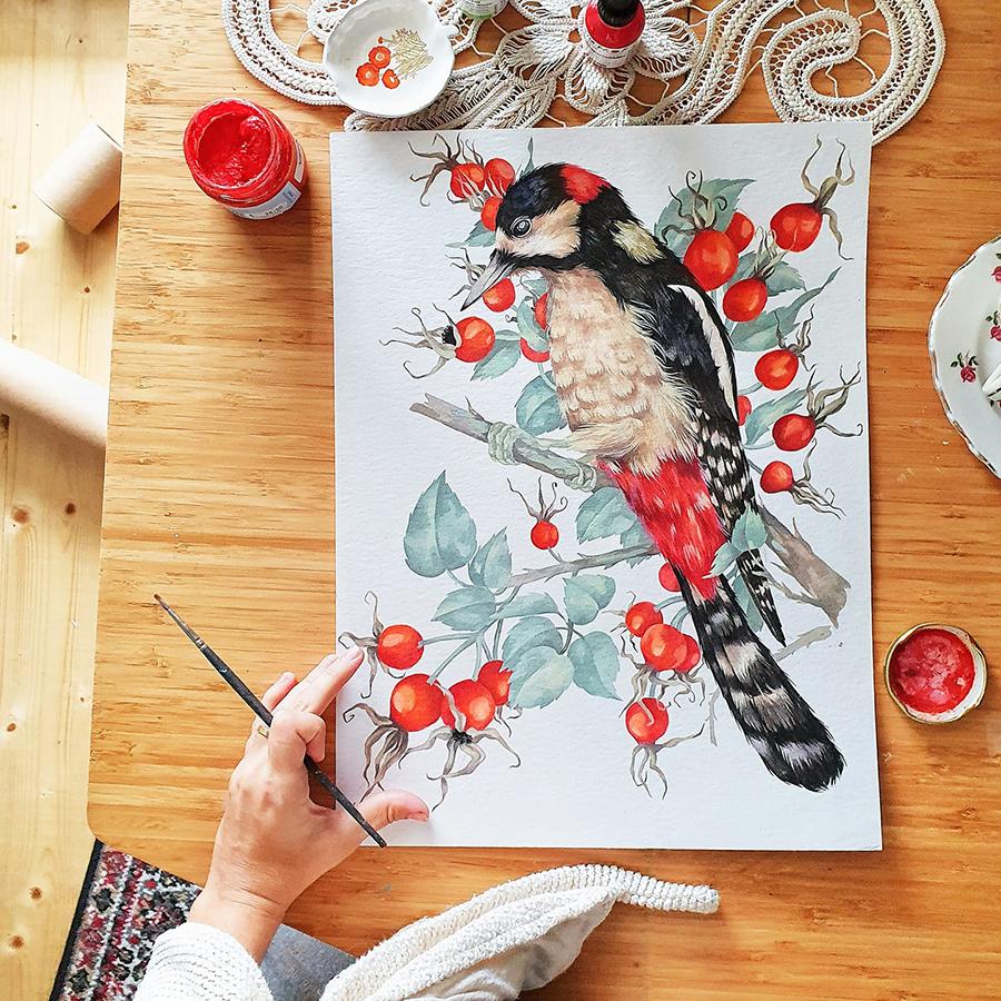 Alexia Udriște - pictură ciocănitoare
