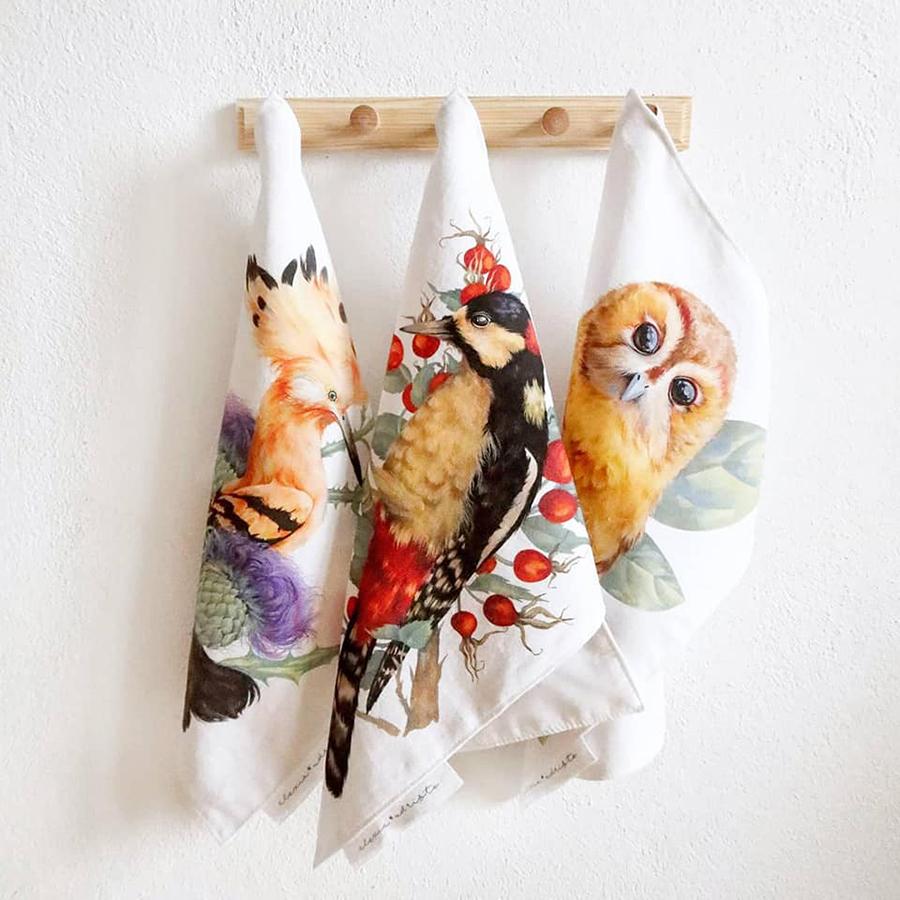 Alexia Udriște - prosoape cu păsări