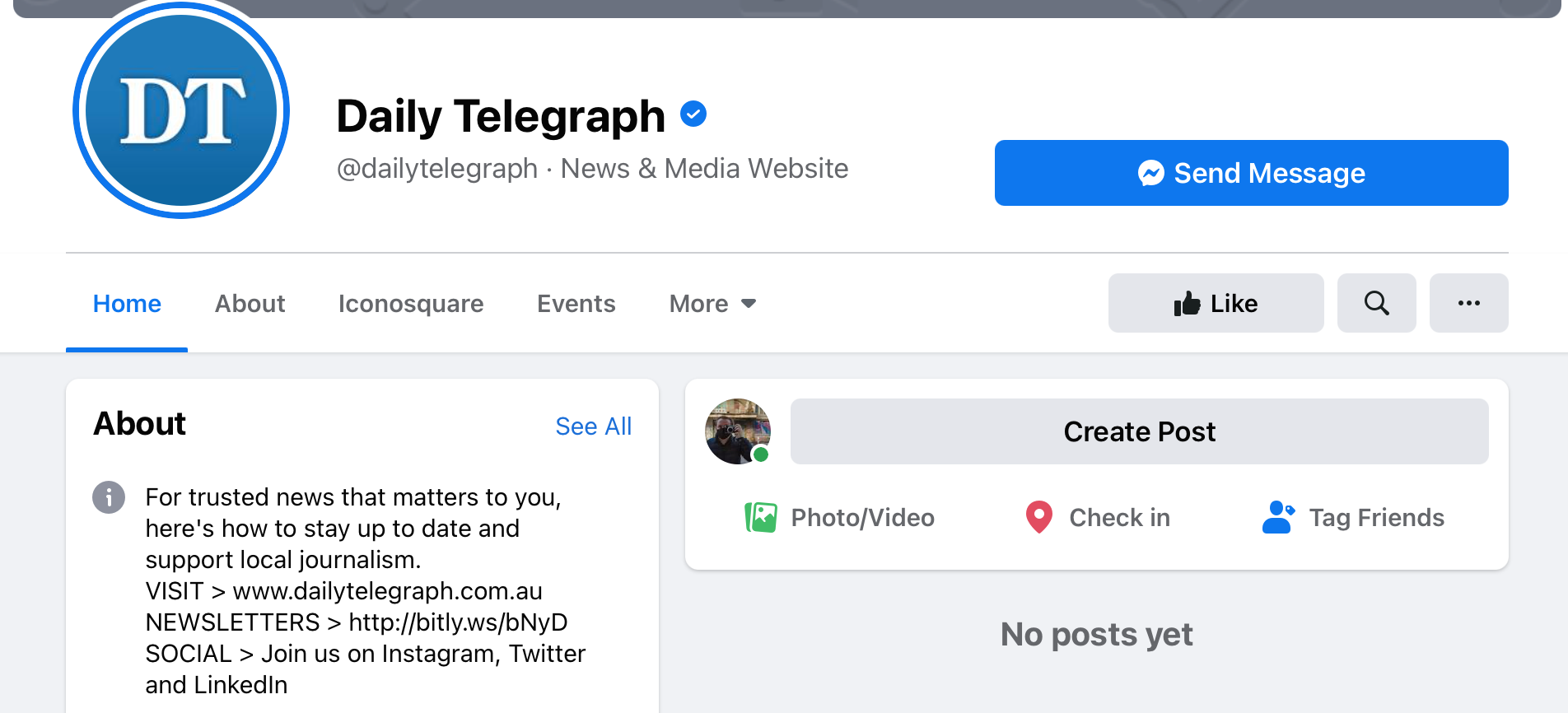 Daily Telegraph Facebook page after ban.