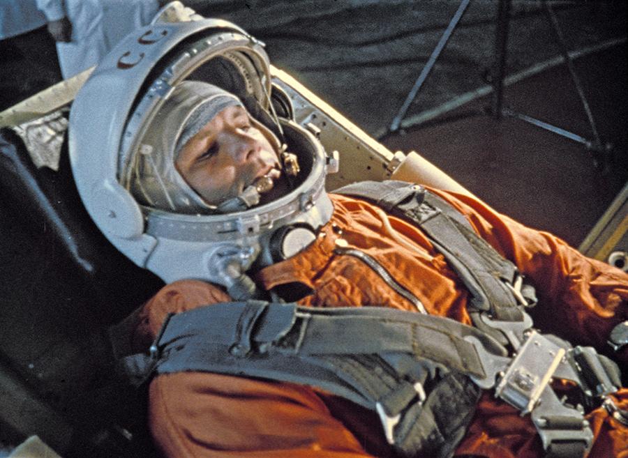 Iuri Gagarin, cu câteva minute înainte de lansare